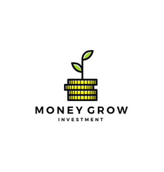 coin leaf sprout money grow investment logo icon vector image