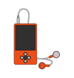 color image cartoon portable music device with vector image