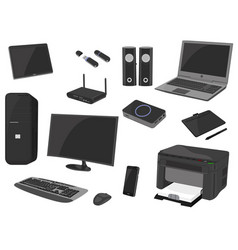 computer technology icon set computer gadget vector image
