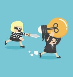 Concepts Cartoons Thief stealing idea BusinessWom vector