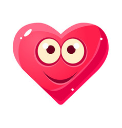 Content smiling emoji pink heart emotional facial vector