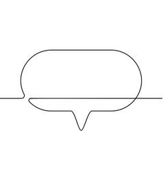 continuous line drawing speech bubble black vector image