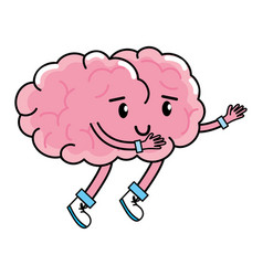 Cute brain cartoon vector