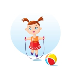Cute girl with skipping rope vector