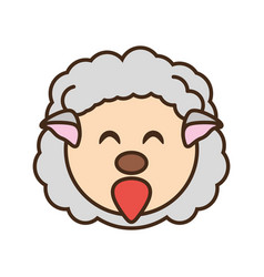 Cute sheep face kawaii style vector