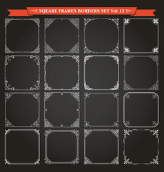 decorative square frames and borders set 12 vector image