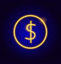 dollar coin neon sign vector image