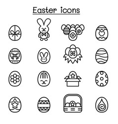 Easter icon set in thin line style vector