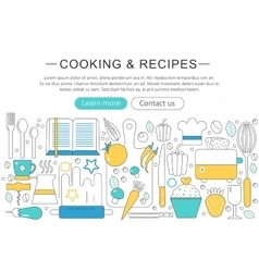 elegant thin line flat modern cooking vector image