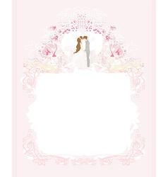 Elegant wedding invitation with happy wedding vector