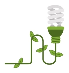 energy saving lightbulb with ivy icon vector image