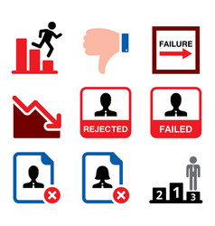 failure rejected man business fail bankruptcy v vector image