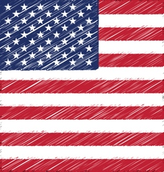 Flat hand draw sketch flag of united state of vector