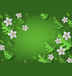 Floral banner with white apple or cherry blossoms vector