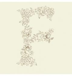 Floral font letter f vector