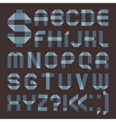 Font from bluish scotch tape - Roman alphabet vector