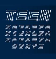 Font maze italic geometric alphabet vector