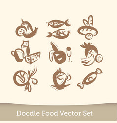 food set doodle isolated on white background vector image