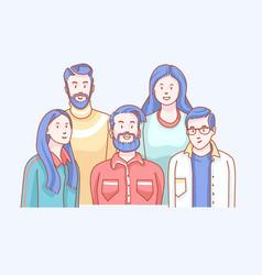 Friends soft front doodle vector