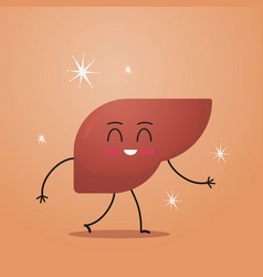 Funny anatomical liver character cute human body vector