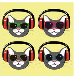 funny cats in music headphones and sunglasses vector image
