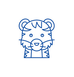 funny tiger line icon concept funny tiger flat vector image