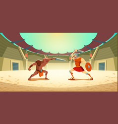 Gladiator fight with barbarian on coliseum arena vector
