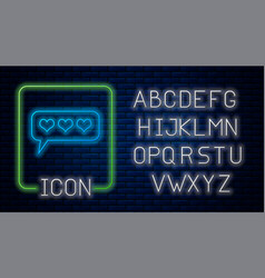 Glowing neon like and heart icon isolated on brick vector