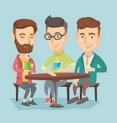 Group of men drinking hot and alcoholic drinks vector
