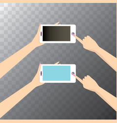 hand holding white smart phone vector image