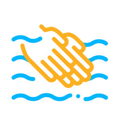 hands washing in water icon outline vector image