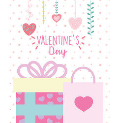 happy valentines day gift box and shopping bag vector image