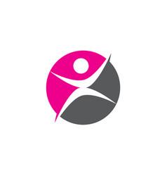 human character solid circle logo symbol vector image