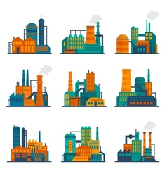 Industrial building icons set flat vector image