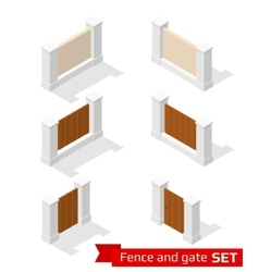 Isometric fence and gate vector