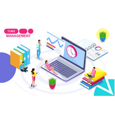 Isometric time management vector