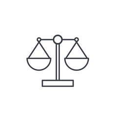 Justice and law symbol scales thin line icon vector
