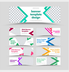 large set white horizontal web banners with vector image