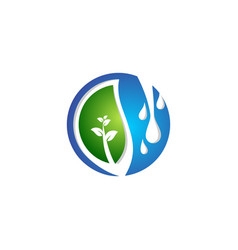 leaf water drop springs ecology logo symbol icon vector image
