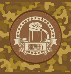 leather label for brewery on camouflage background vector image