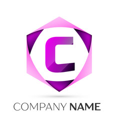 Letter c symbol in the colorful hexagonal vector