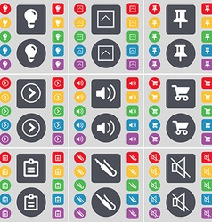 Light bulb Arrow up Pin Arrow right Sound Shopping vector