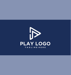 line p play logo design inspiration vector image