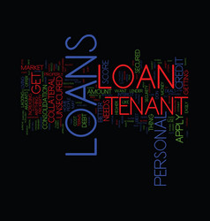 Loans are not only for homeowners get tenant vector