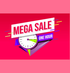 mega sale geometric sticker countdown banner vector image