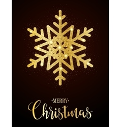 Merry Christmas gold glittering design vector image