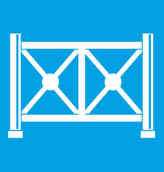 Metal fence icon white vector