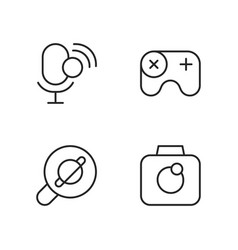 mobile interface pixel perfect linear icons set vector image