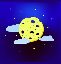 Moon in the form of cheese next to the clouds vector