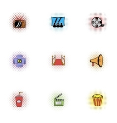 Movie icons set pop-art style vector image